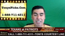 New England Patriots vs. Houston Texans Free Pick Prediction NFL Pro Football Odds Preview 9-22-2016