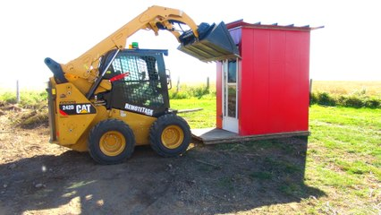 Skid Steer DESTROYS Old Bus Shack by Radio Control