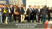 Nicolas Sarkozy en visite au port de Calais