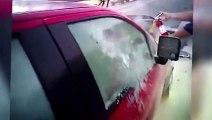 Un homme chanceux d'avoir été sauvé de justesse d'une voiture en flamme