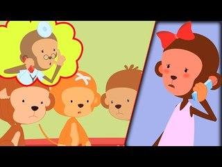 cinco pequeños monos | cinco pequeños monos para niños en español