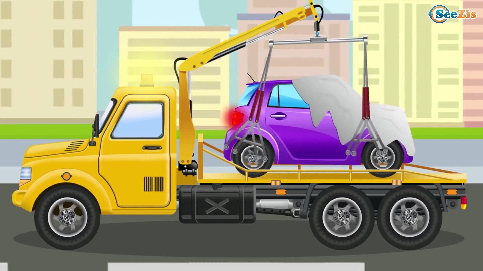 Kamyon inşaat çizgi filmi Çekici ve Forklift   Eğitici Çizgi Film