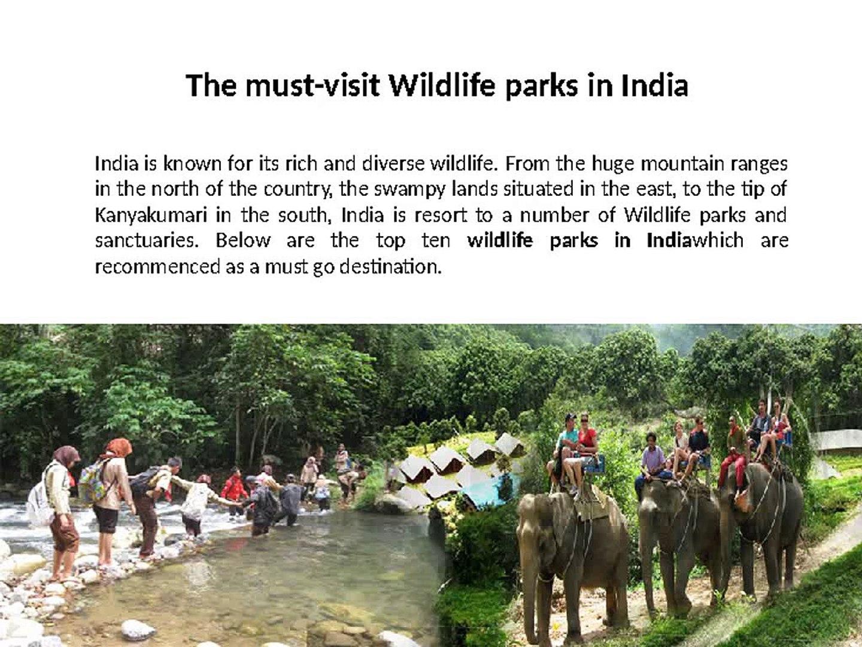 Wildlife parks in India- Wildlife parks