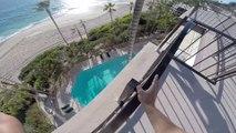 Sauter du 5eme étage d'un hôtel dans une piscine.. Le Fou !