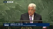 'We recognize Israel, now it has to recognize Palestine', Abbas at the UN