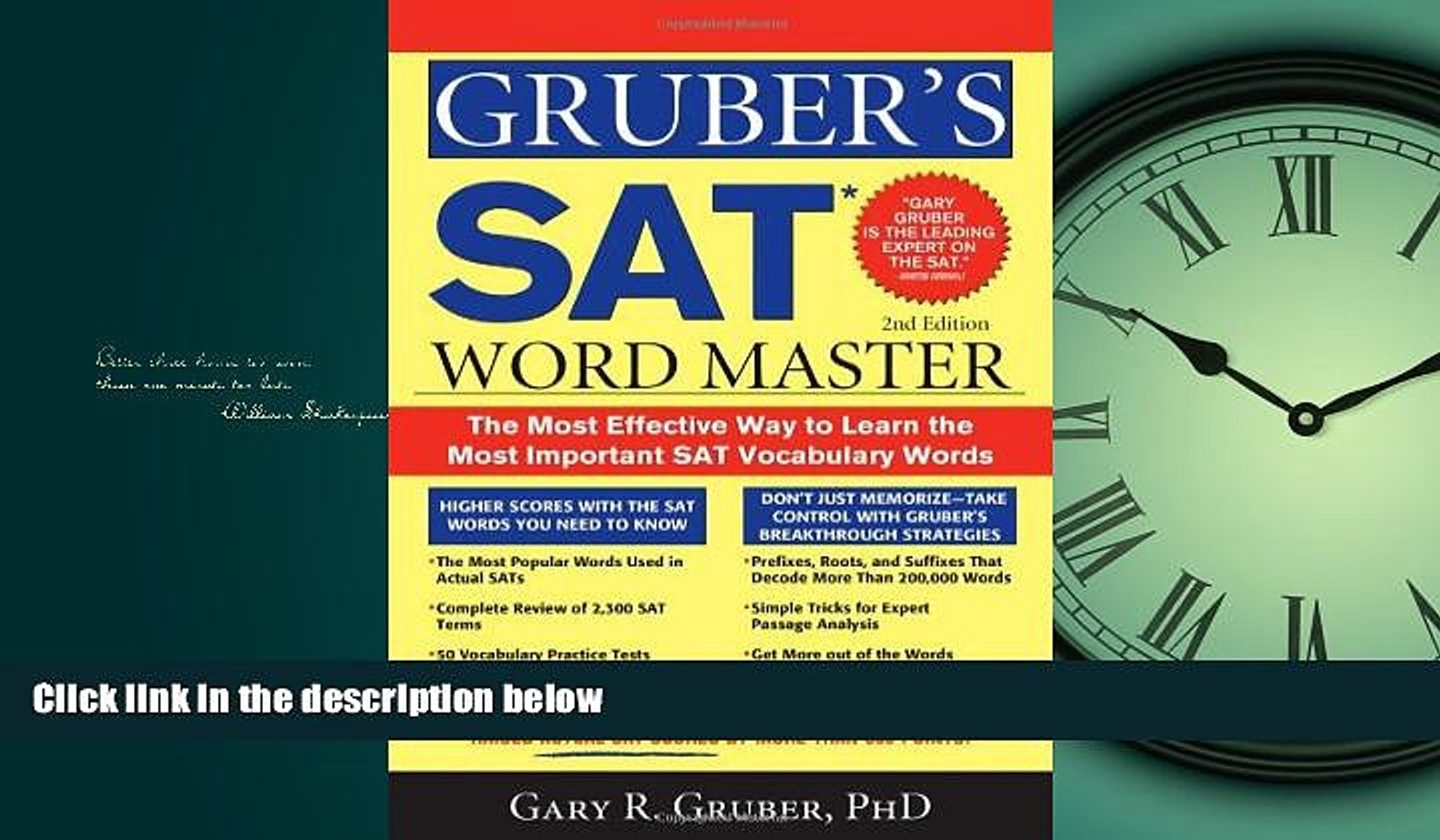 Popular Book Gruber s SAT Word Master: The Most Effective Way to Learn the  Most Important SAT