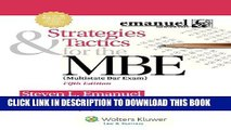 New Book Strategies   Tactics for the MBE, Fifth Edition (Emanuel Bar Review)