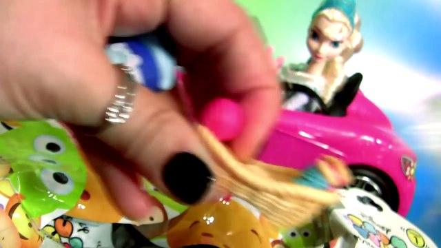 Elsa Goes Shopping for Disney Tsum Tsum Series 2 Driving Barbies Car with Pig George & Peppa Pig