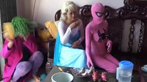 Fart in the mouth Joker haha Spiderman Frozen elsa vs Pinks SpiderGirl Superheroes Funny part 3