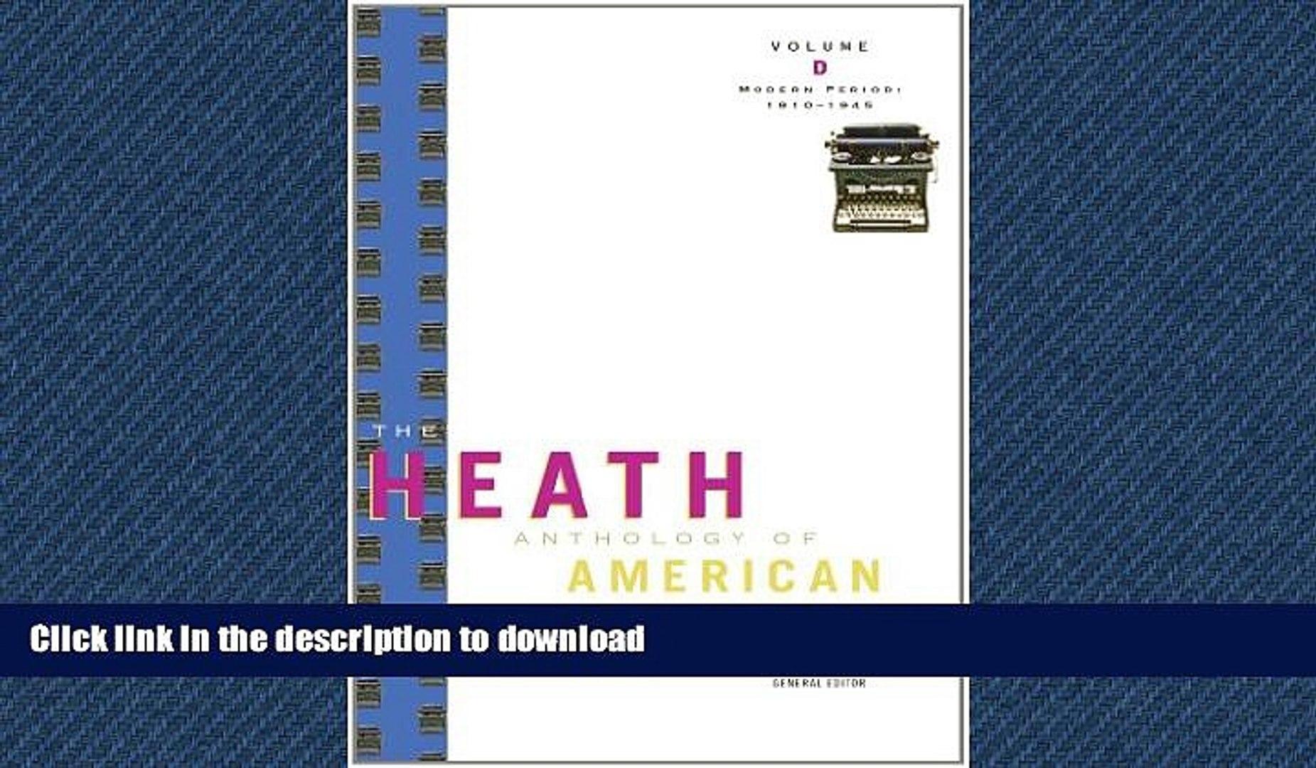 FAVORIT BOOK The Heath Anthology of American Literature: Modern Period (1910-1945), Volume D