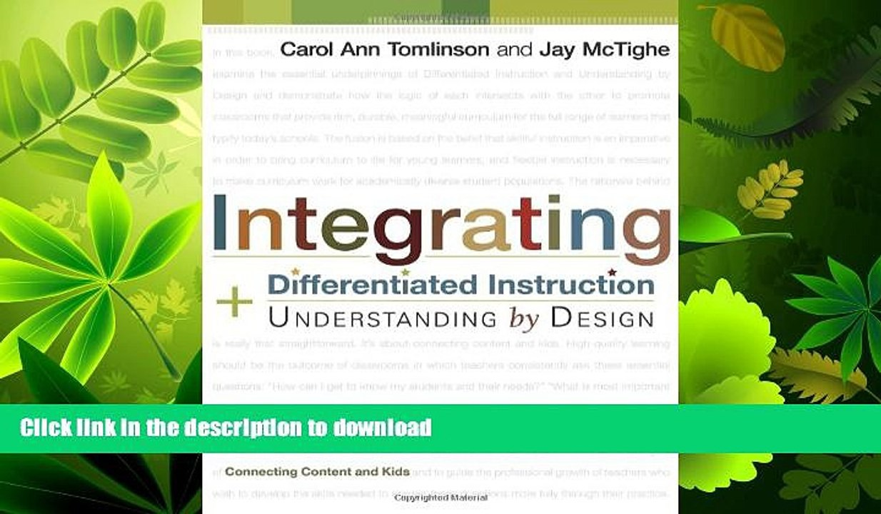 Read Book Integrating Differentiated Instruction Understanding By Design Connecting Content Video Dailymotion