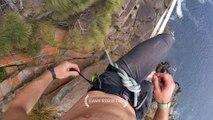 Un funambule perd son équilibre à 30 mètres au-dessus des vagues et des rochers !