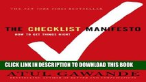 New Book The Checklist Manifesto: How to Get Things Right