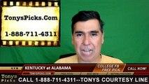 Alabama Crimson Tide vs. Kentucky Wildcats Free Pick Prediction NCAA College Football Odds Preview 10-1-2016