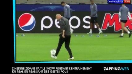 Zinedine Zidane fait le show lors de l'entraînement du Real Madrid en réalisant des gestes fous (vidéo)