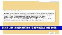[PDF] Entwicklung eines Modells zur Bewertung der Qualität von Geschäftsmodellen von