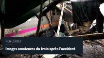Accident de train d'Hoboken : images amateures du train crashé
