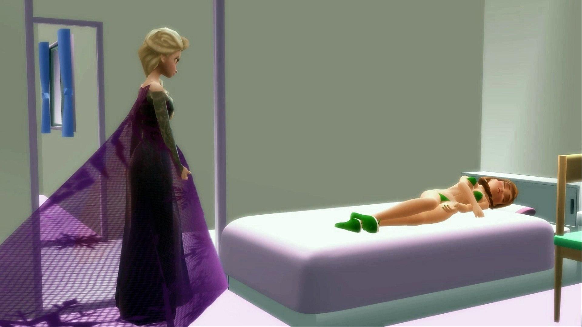 Vampire Frozen Elsa Attempts to Bite Sleeping Anna in Bikini Frozen 2 3D Animation Parody CheekSpear