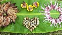 Cooking Prawns, Squids and Quail Eggs - Squid, Prawns and Quail Eggs Roll Cooked_HD