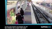 Un policier frappe violemment un SDF qui dormait sur le quai d'une gare (vidéo)