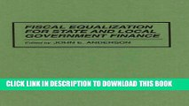 New Book Fiscal Equalization for State and Local Government Finance