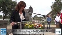 AGDE FETE DE LA SAINT MICHEL 2016 - Intervention de Géraldine D'ETTORE - Conseillère Régionale  -  Les parachutistes à l'honneur lors de la célébration de Saint Michel .