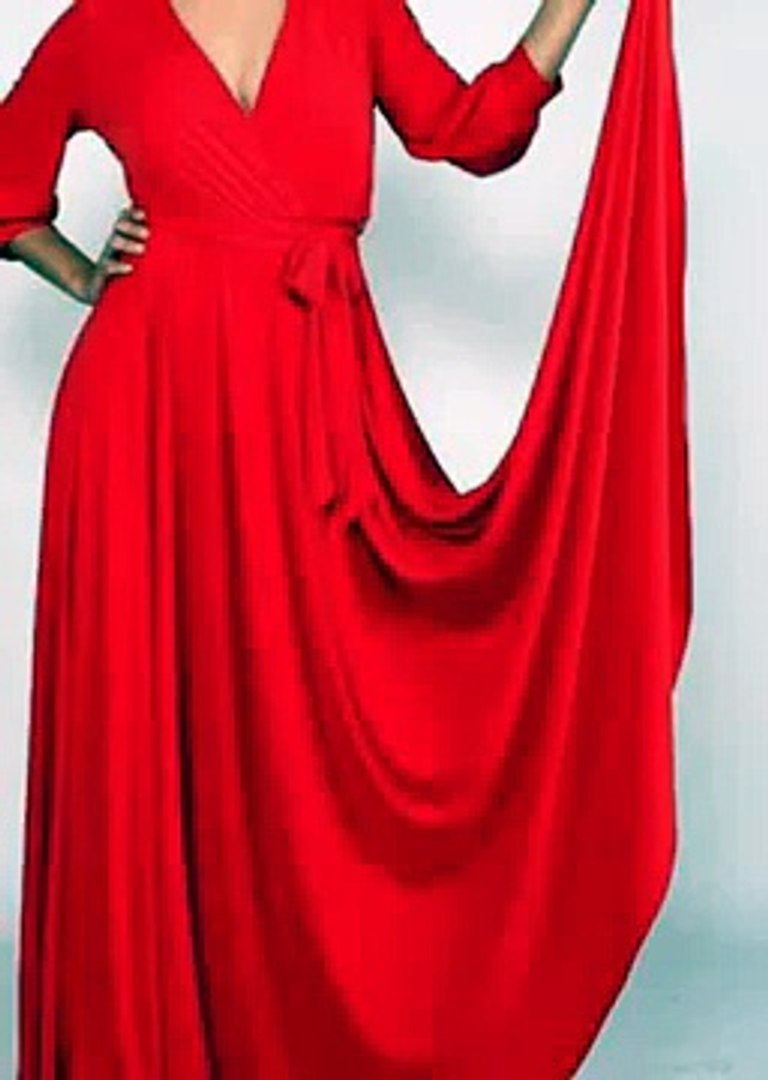 African Outfits-African Apparel-African Clothes-African Attire-VENECHIA SOLID MAXI WRAP DRESS-red