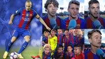 Els nens del planter feliciten Iniesta pels seus 600 partits amb el primer equip