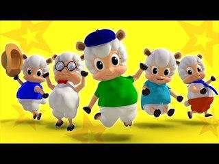five little sheep jumping on the bed | nursery rhymes farmees | kids songs | 3d rhymes