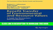 Collection Book Benefit Transfer of Environmental and Resource Values: A Guide for Researchers and
