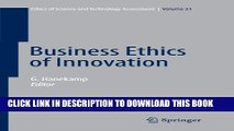 New Book Business Ethics of Innovation (Ethics of Science and Technology Assessment)