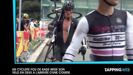 Un cycliste fou de rage brise son vélo en deux à l'arrivée d'une course (vidéo)