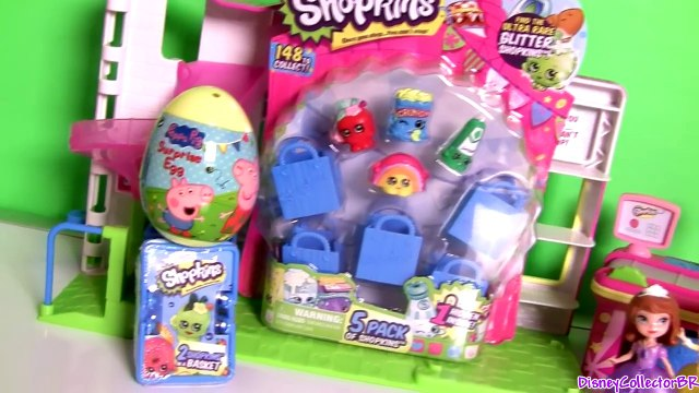 Princess Sofia the First Going Shopping at the Shopkins Supermarket Mart with Peppa Pig Surprise Egg