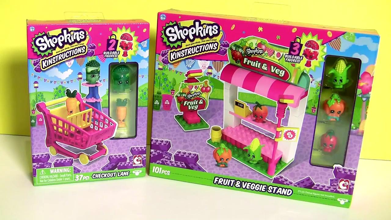 Shopkins Blocks Checkout Lane + Shopkins Blocks Fruit & Veggie Stand Similar to Lego Blocks
