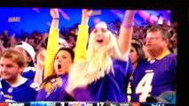 Crazy female fans go wild at Vikings game. from Minnesota. Vikings 24 Giants 10. October 3, 2016