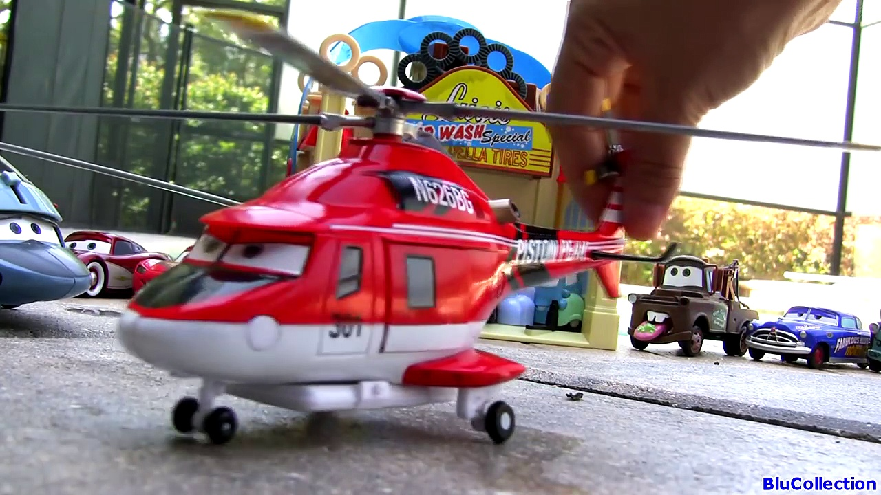 Disney Planes Fire & Rescue Muir Train, Mayday Firetruck, Blade Ranger Pixar Cars Dinoco Helicopter