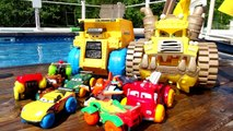 Pixar Cars Hydro Wheels Colossus XXL and Lightning McQueen Mater and Red in the Pool