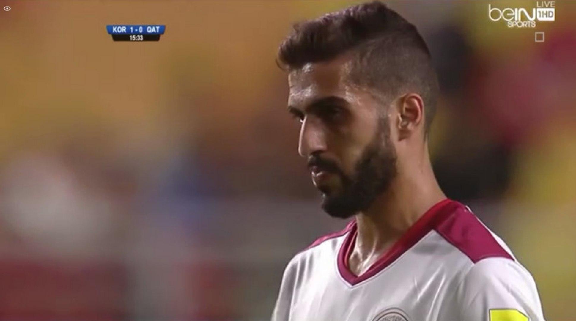 Hassan Al Haidos penalty Goal - South Korea 1-1 Qatar - (06/10/2016)