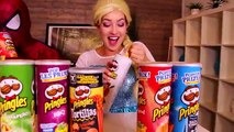 Spiderman & Frozen Elsa PRINGLES CHALLENGE! w_ Maleficent Joker Spidergirl TOYS! Superhero Fun IRL