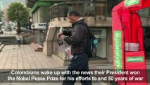 Colombians react to President Santos Nobel Peace Prize