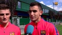 """FCB Masia: declaraciones de Eric Montes y de Oriol Rey en """"L'Hora B"""" antes del partido entre el Juvenil A y el Espanyol"""