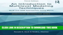 [PDF] An Introduction to Multilevel Modeling Techniques: MLM and SEM Approaches Using Mplus, Third