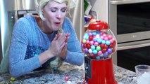 Spiderman Frozen Elsa Versus Venom Bubble Gum Challenge Superhero Fun in Real life Queen Elsa Bubble