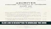 [PDF] Archives D Histoire Litteraire Et Doctrinale Du Moyen-Age LXXIII - 2006 (Archives D Histoire