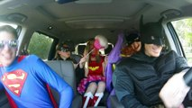 Batman Vs Superman Superhero Car Dance w/ Wonderwoman Batgirl and Catwoman & Superman in Real Life!