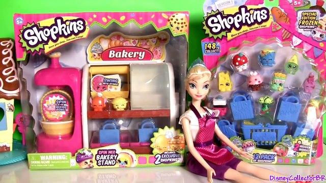 Shopkins Spin N Mix Bakery Stand Disney Frozen Elsa Shopping at Panadería y Pastelería de Dulces