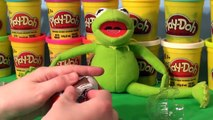 3 Kinder Egg Surprise Eggs with Kermit the Frog from Sesame Street and appearance of Cookie Monster