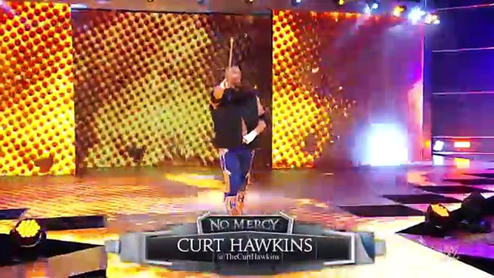 WWE 2016 No Mercy Curt Hawkins steps foot into the SmackDown LIVE ring for the first time- WWE No Me