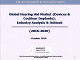 Global Hearing Aid Market (Devices & Cochlear Implants): Industry Analysis & Outlook (2016-2020)