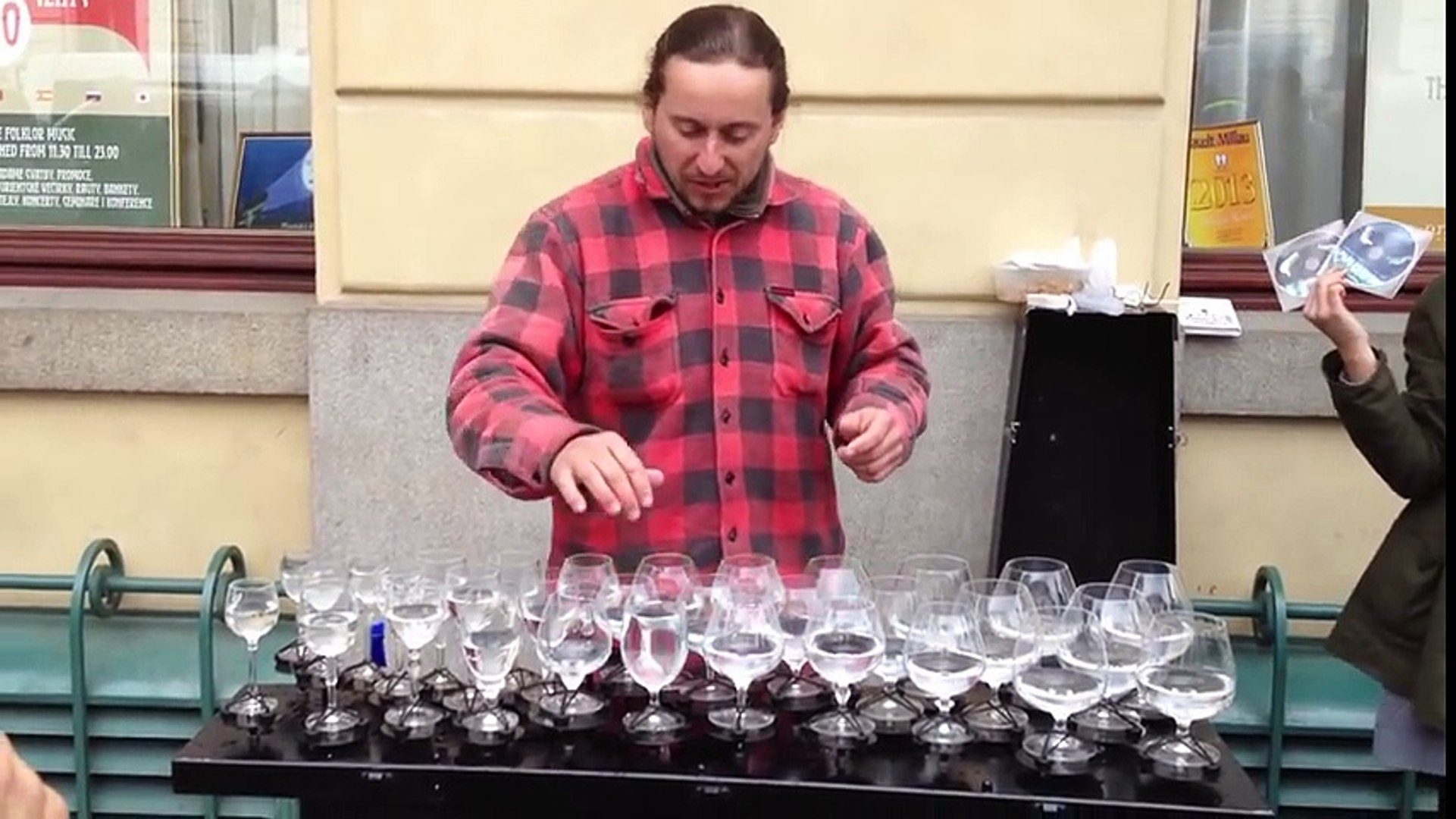 Crazy Performance! Street Musician Playing Water Glasses! Epic Talented Street Artists...